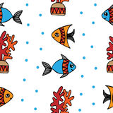 Seamless pattern with fish and coral on the white background. Can be used for printing on fabric, for wrapping paper and for the background of the site Stock Photo