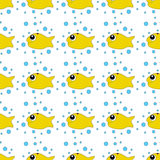 Seamless pattern with fish and crabs. In the style of doodle drawing Royalty Free Stock Photo