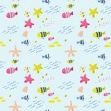 Seamless Pattern with Fish. Cute Childish Background for Fabric, Decor, Wallpaper, Wrapping Paper. Underwater Creatures. Seamless Pattern with Fish. Cute vector illustration