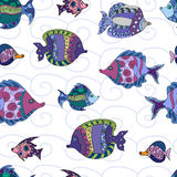 Seamless pattern with fish  design. Decorative background with ornamental doodle  fish Stock Photo