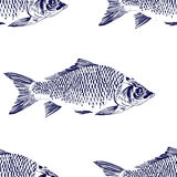 Seamless pattern with fish. Engraved illustration. Vintage Stock Photography