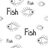 Seamless pattern. Fish and eye royalty free stock photography