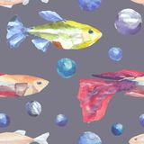 Seamless pattern with fish. Painted in watercolor. vector illustration
