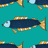 Seamless pattern Fish. Seamless pattern. Fish. Hand-drawn fantasy fish with ethnic doodle pattern Royalty Free Stock Photos