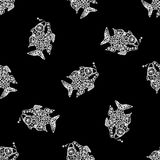 Seamless pattern with fish,hand drawn Royalty Free Stock Photos