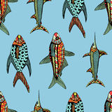 Seamless pattern fish Royalty Free Stock Images