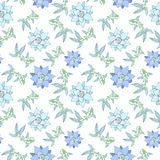 Seamless pattern with fish and lotus flowers in pastel green and blue color. Vector image on white background Royalty Free Stock Photo