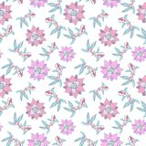 Seamless pattern with fish and lotus flowers in pastel pink and blue color. Vector image on white background Royalty Free Stock Photography