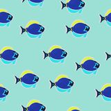 Seamless pattern fish in oil blue. Vector, hand drawn in oil Stock Images