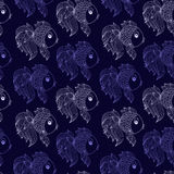 Seamless pattern with fish on  purple background Stock Photos