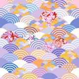 Seamless pattern fish scales simple Nature background with japanese sakura flower, rosy pink Cherry, wave circle violet purple cob. Alt orange burgundy colors Stock Image