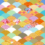 Seamless pattern fish scales simple seamless pattern Nature background with japanese sakura flower, rosy pink Cherry, wave circle. Pattern blue orange red green Royalty Free Stock Image