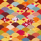 Seamless pattern fish scales simple seamless pattern Nature background with japanese sakura flower, rosy pink Cherry, wave circle. Pattern blue orange red Royalty Free Stock Photo