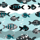 Seamless pattern of fish in the sea Stock Photo