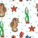 Seamless pattern with fish, sea horse and coral Stock Image