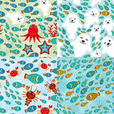 Seamless pattern with fish, sea lions, octopus, starfish, corals in the background water.. Seamless pattern with fish, sea lions octopus, starfish, corals in Stock Image