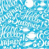 Seamless pattern of fish in the sea and Summer lettering, vector illustration. Seamless pattern of Summer lettering and fish in the sea, vector illustration Stock Photos