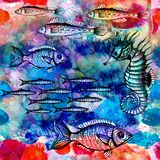 Seamless pattern with fish in sea. Vector, EPS 10 Royalty Free Stock Image
