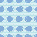 Seamless pattern with fish silhouettes on blue wave background. For cards, invitations, baby shower albums, wallpapers, backgrounds, scrapbooks. Art vector Royalty Free Stock Photos