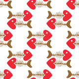 Seamless pattern of fish skeleton  with head-heart Royalty Free Stock Photo