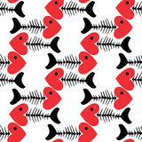 Seamless pattern of fish skeleton with head-heart Stock Photos