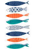 Seamless pattern of fish in the style of doodle. Vector Stock Photography
