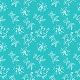 Seamless pattern of fish, turtles and lotus blossoms in blue. Seamless pattern of fish, turtles and lotus blossoms in blue color. Vector image Stock Images