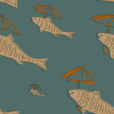 Seamless pattern with fish and umbrella Stock Photos