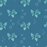 Seamless pattern with fish. Vector blue color seamless pattern with fish Royalty Free Stock Photos