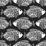 Seamless pattern fish. Vector seamless pattern with Hand drawn fish with floral elements in black and white doodle style. Pattern for coloring book Royalty Free Stock Photos