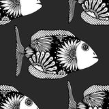 Seamless pattern fish. Vector seamless pattern with Hand drawn fish with floral elements in black and white doodle style. Pattern for coloring book Royalty Free Stock Photo