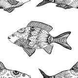 Seamless pattern fish. Vector seamless pattern with Hand drawn fish with floral elements in black and white doodle style. Pattern for coloring book Stock Image