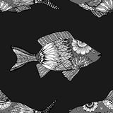 Seamless pattern fish. Vector seamless pattern with Hand drawn fish with floral elements in black and white doodle style. Pattern for coloring book Stock Photos