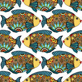 Seamless pattern with fish. Vector seamless pattern with Hand drawn fish with floral elements in doodle style Royalty Free Stock Images