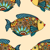 Seamless pattern with fish. Vector seamless pattern with Hand drawn fish with floral elements in doodle style Royalty Free Stock Photos