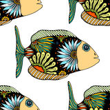 Seamless pattern with fish. Vector seamless pattern with Hand drawn fish with floral elements in doodle style Royalty Free Stock Photo