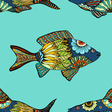 Seamless pattern with fish. Vector seamless pattern with Hand drawn fish with floral elements in doodle style Stock Images