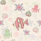 Seamless pattern with fish. Vector seamless pattern with fish and octopus Stock Photos