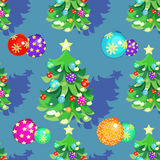 Seamless pattern fishbone in New Years balloons. And Christmas gifts on blue vector illustration royalty free illustration