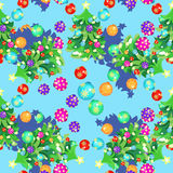 Seamless pattern fishbone in New Years balls and Christmas ball. S on blue vector illustration Royalty Free Stock Images