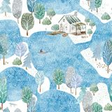 Seamless pattern of a fisherman`s house,island and garden. Landscape of a forest, lake, bridge and lake.Watercolor hand drawn illustration.Blue background stock illustration