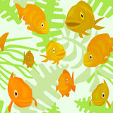 Seamless pattern with fishes and algae Stock Photo