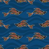 Seamless pattern of fishes. Australian art. Seamless pattern of fishes with abstract waves on background. Australian art. Aboriginal painting style. Vector stock illustration