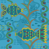Seamless pattern with fishes Royalty Free Stock Photo