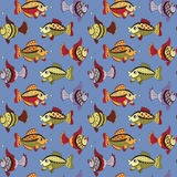 Seamless pattern with fishes. And bubbles Royalty Free Stock Image
