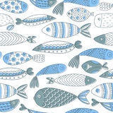 Seamless pattern with fishes. Hand drawn undersea world. Artistic background. Aquarium Royalty Free Stock Image
