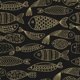 Seamless pattern with fishes.  Stock Images