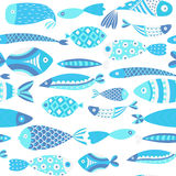 Seamless pattern with fishes. Hand drawn undersea world. Colorful artistic background. Aquarium Royalty Free Stock Photos
