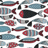 Seamless pattern with fishes. Hand drawn undersea world. Colorful artistic background. Aquarium Stock Photo