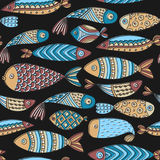 Seamless pattern with fishes. Hand drawn undersea world. Colorful artistic background. Aquarium Stock Image